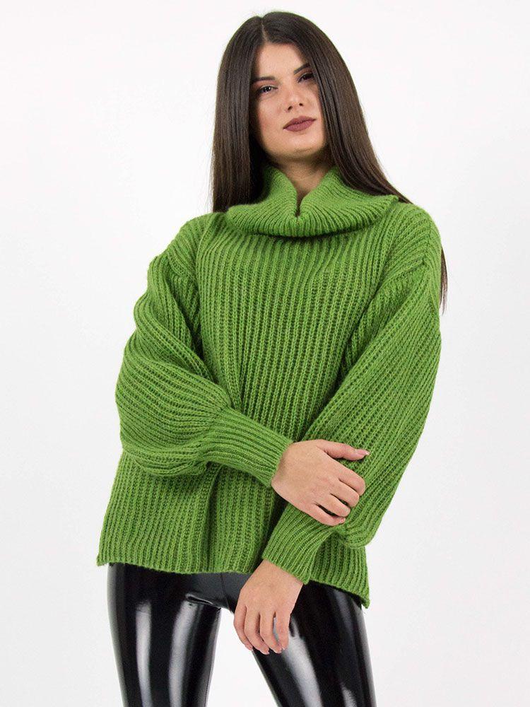 Πλεκτό πουλόβερ ζιβάγκο πράσινο 19db2582d97