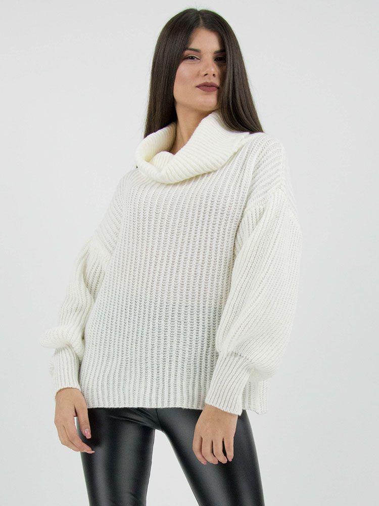 66ddb1d53b3e Πλεκτό πουλόβερ ζιβάγκο άσπρο Μπλούζες 1 8