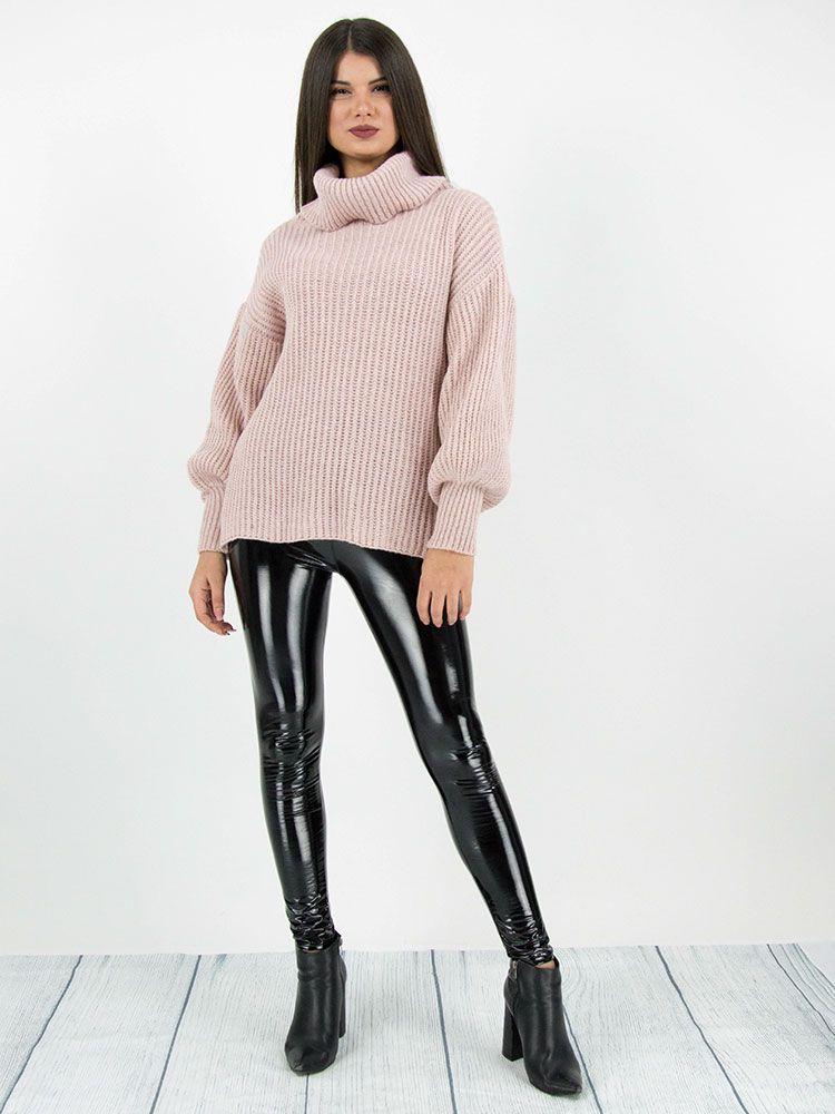 Πλεκτό πουλόβερ ζιβάγκο ροζ Μπλούζες 2 6