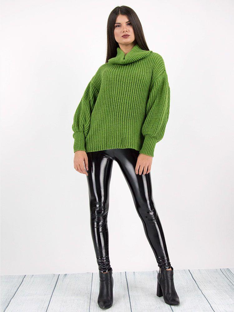 Πλεκτό πουλόβερ ζιβάγκο πράσινο Μπλούζες 2 7