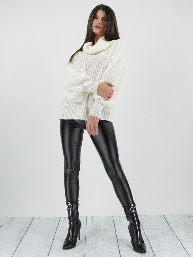 Πλεκτό πουλόβερ ζιβάγκο άσπρο Μπλούζες 2 8