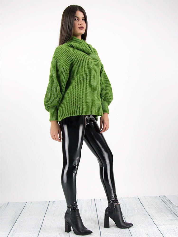 Πλεκτό πουλόβερ ζιβάγκο πράσινο Μπλούζες 3 5