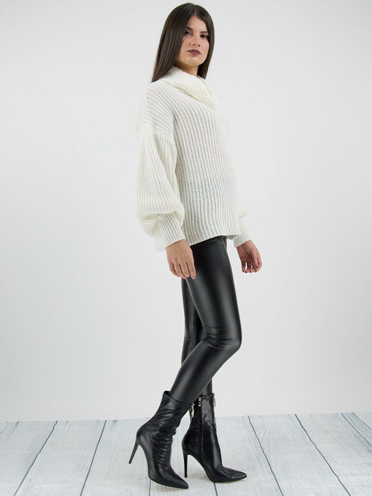 Πλεκτό πουλόβερ ζιβάγκο άσπρο Μπλούζες 3 6