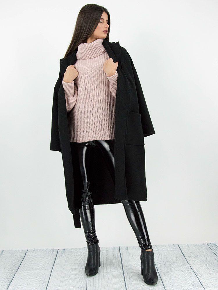 Πλεκτό πουλόβερ ζιβάγκο ροζ Μπλούζες 4