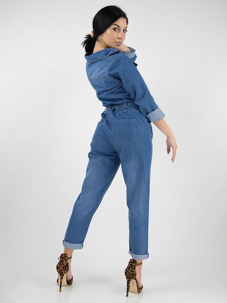 Ολόσωμη φόρμα τζιν με ζώνη Ολόσωμες φόρμες 3