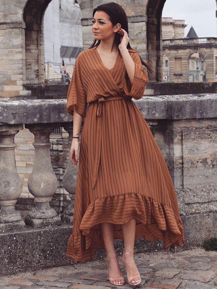Κρουαζέ φόρεμα μακρύ καφέ ριγέ με διαφάνεια