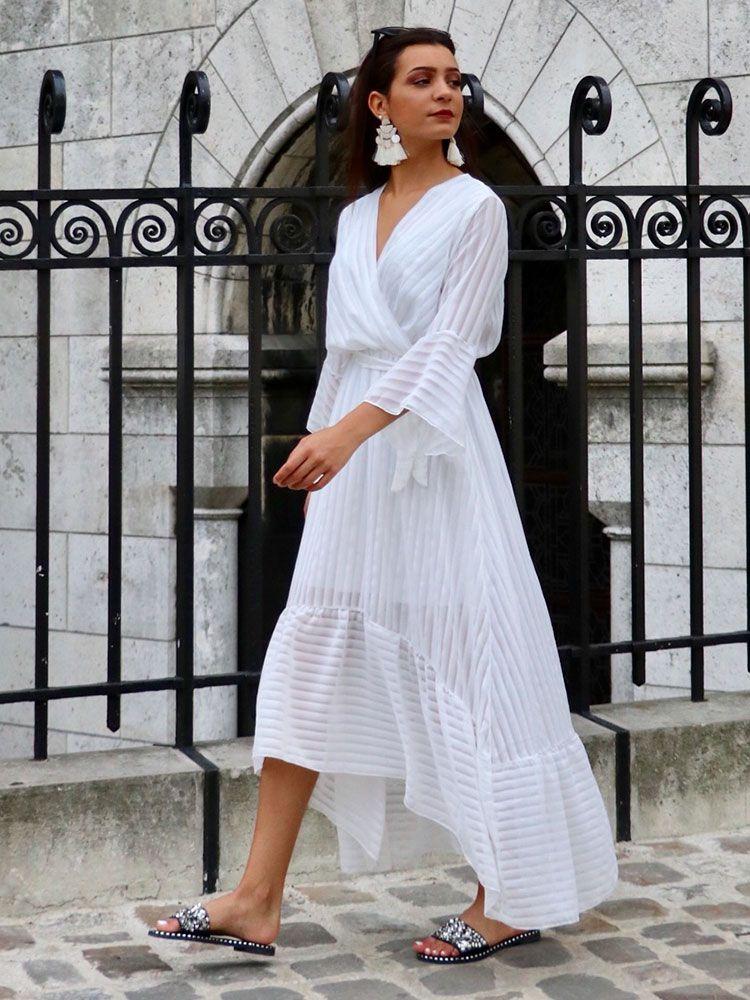 e878ddc48ea8 Κρουαζέ φόρεμα μακρύ άσπρο ριγέ με διαφάνεια Φορέματα 9 1 750x1000