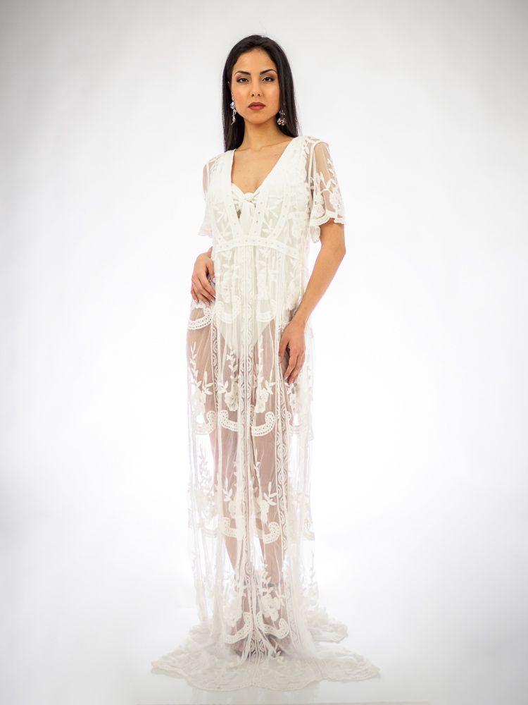 5f422c5192f Μάξι φόρεμα ασπρο διαφάνεια Φορέματα, Beachwear, Ρούχα παραλίας GK047528  Edit
