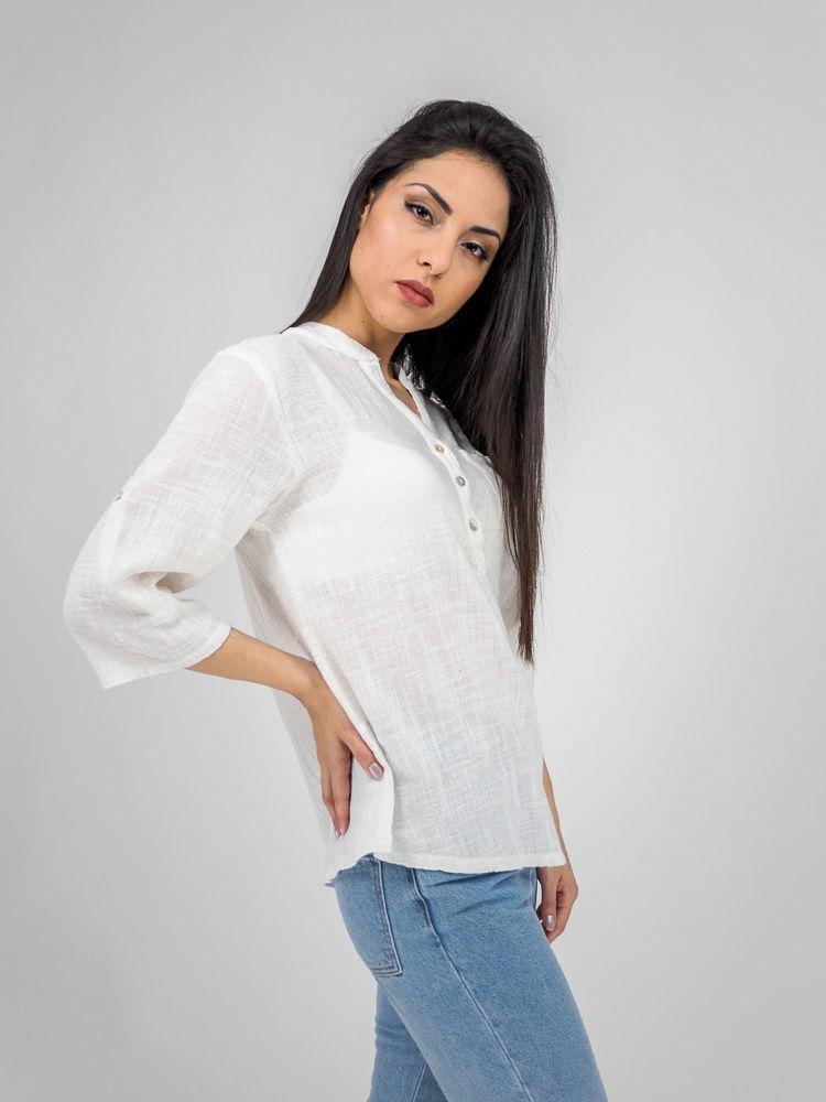 726b03b387a1 Πουκαμισο λινό με κουμπιά στον γιακά λευκό Γυναικεία πουκάμισα GK047649