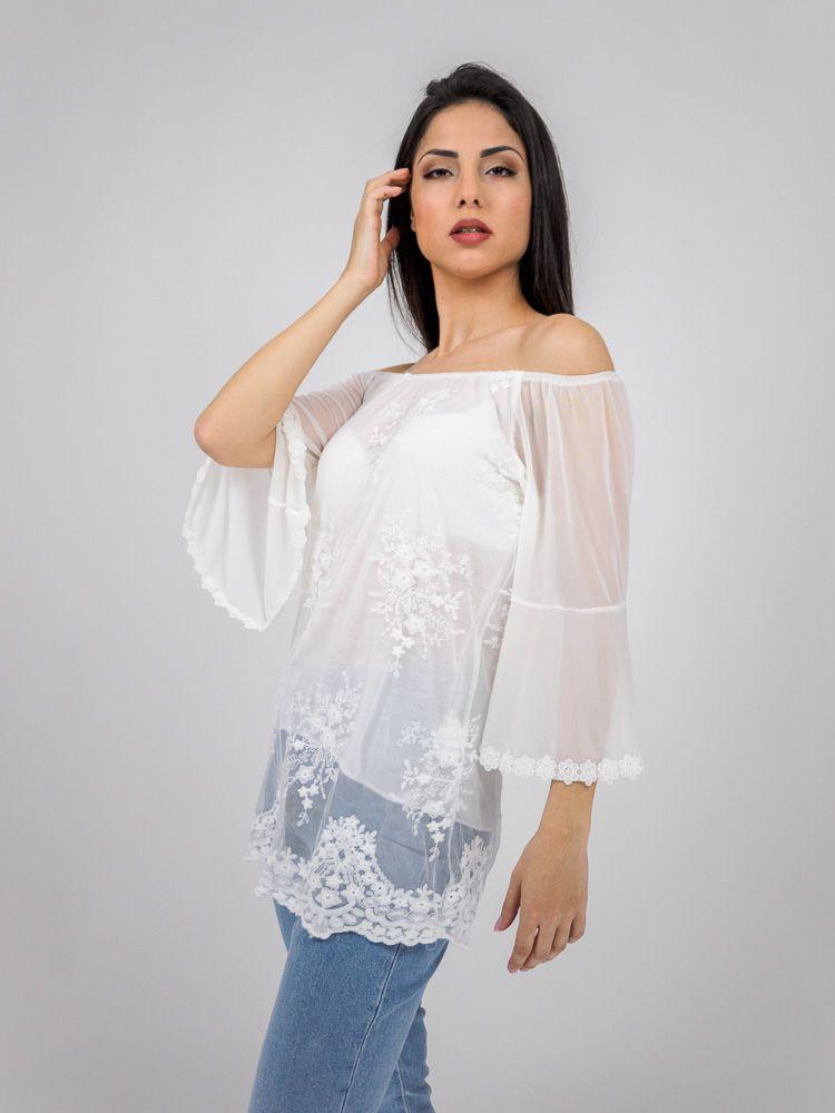 d4e87303bc1f Μπλούζα δαντελένια με ώμους έξω άσπρη Μπλούζες GK047679