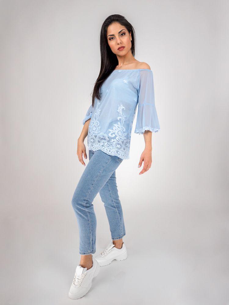 4fa9cb2c05e4 Μπλούζα δαντελένια με ώμους έξω γαλάζια Μπλούζες GK047737 Edit