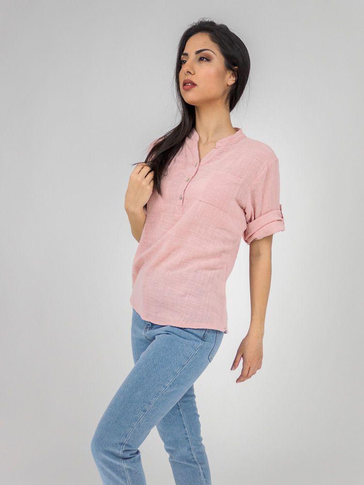 2f63233fa3dc Πουκαμισο λινό με κουμπιά στον γιακά ροζ Γυναικεία πουκάμισα GK047773