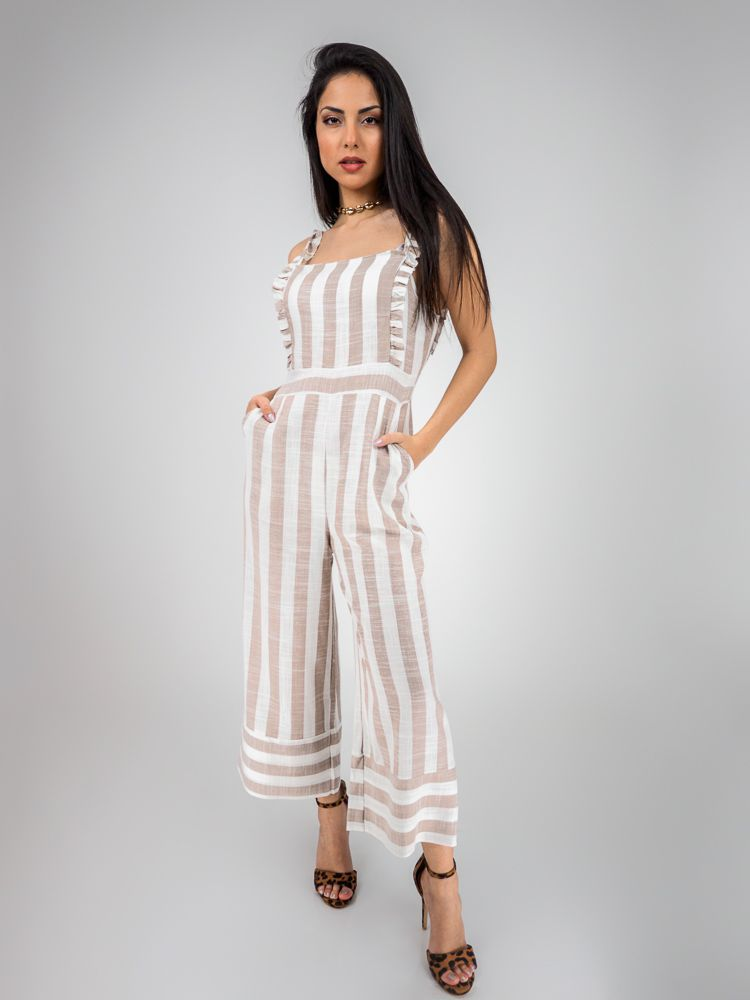 f11f58db4ad Ολόσωμη φόρμα ριγέ λευκό με μπεζ