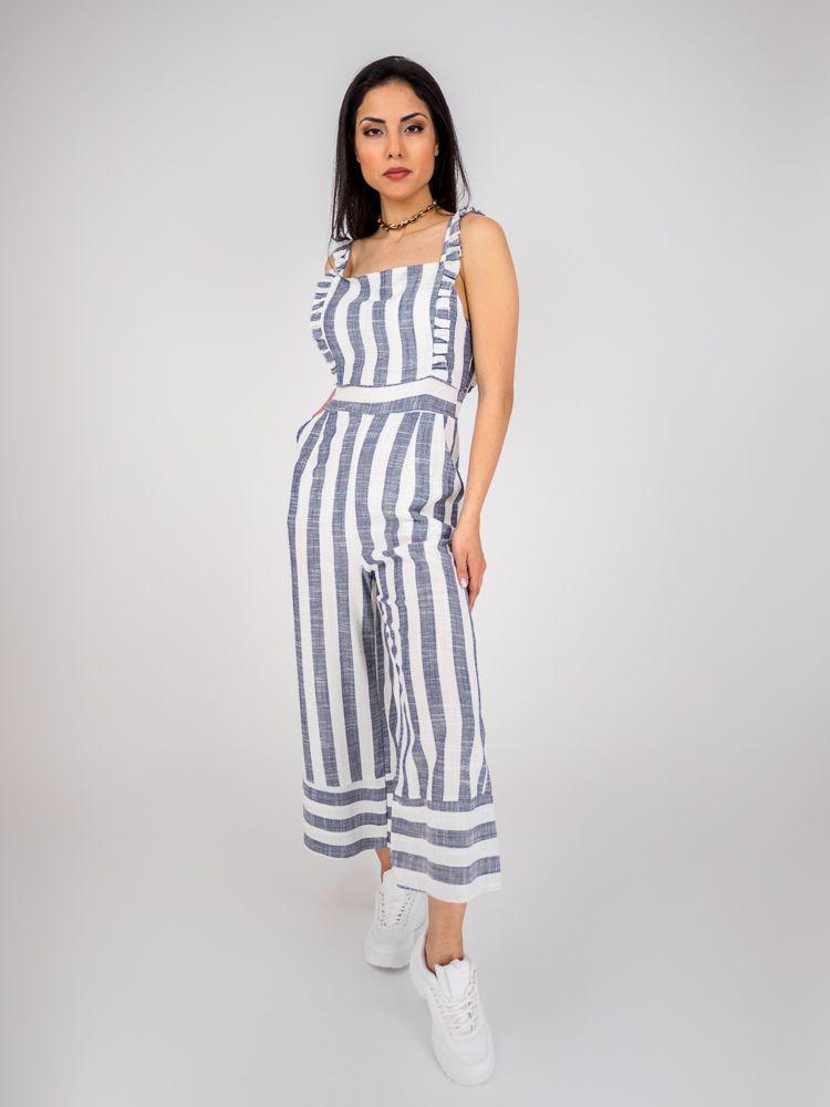 4b1b18ee806 Ολόσωμη φόρμα ριγέ λευκό με μπλε