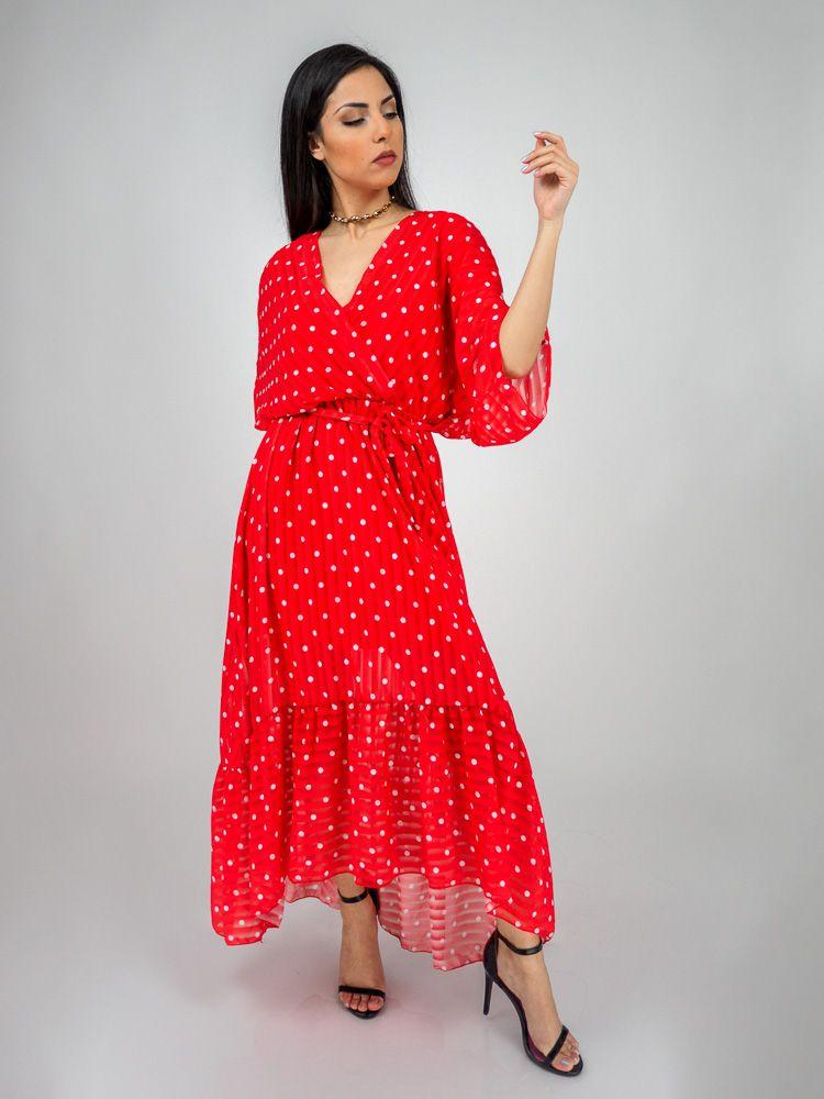 8db2fb5531c1 Κρουαζέ φόρεμα κόκκινο πουά ασύμμετρο Φορέματα GK047990 Edit
