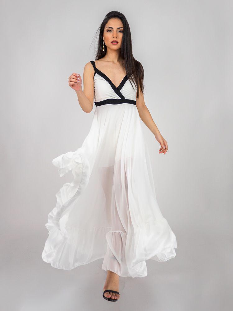 eb000033ceb2 Φόρεμα μακρύ λευκό με μαύρη λεπτομέρεια στο στήθος Φορέματα GK048092 Edit