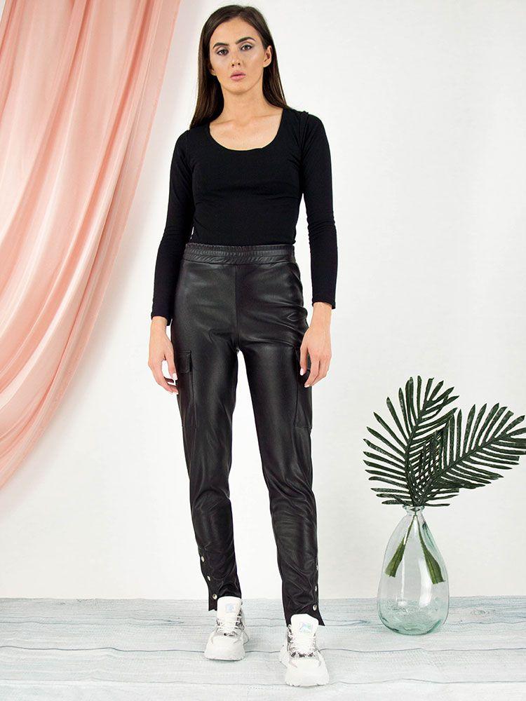 Δερμάτινο παντελόνι cargo με τσέπες μαύρο