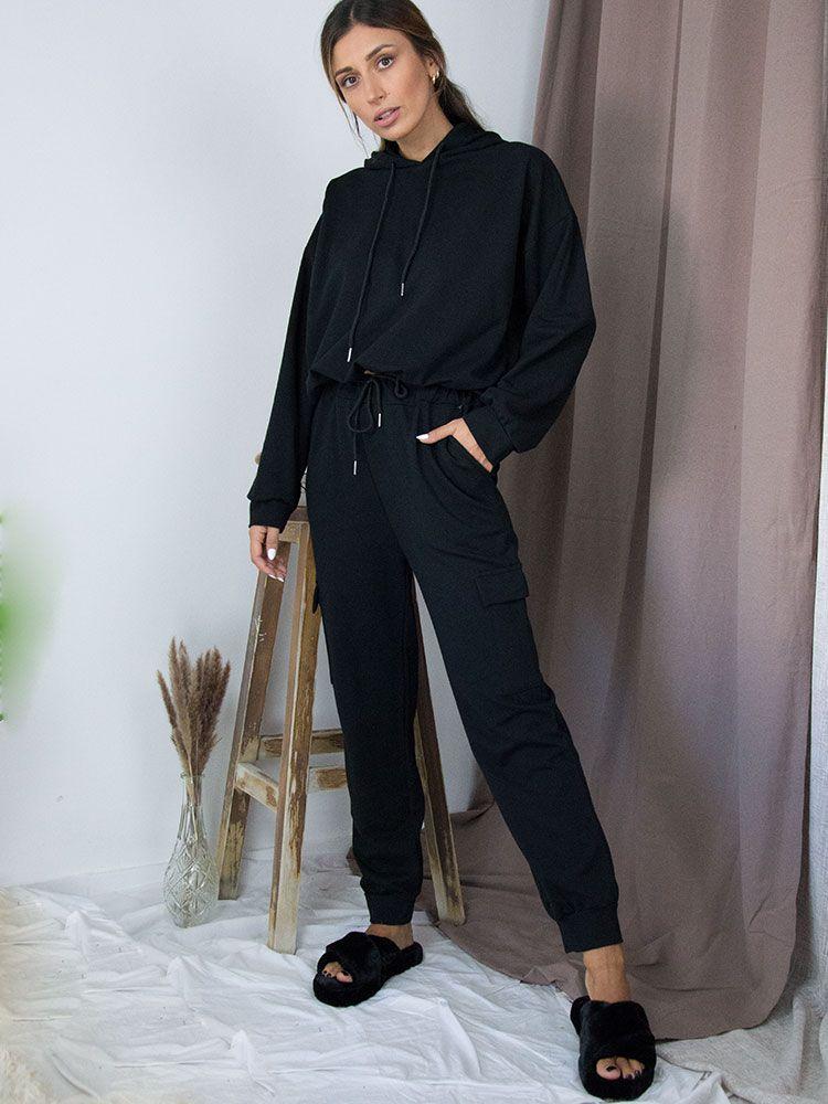 Σετ φόρμας παντελόνι με μπλούζα μαύρο Σετ set athlitiko forma mavro