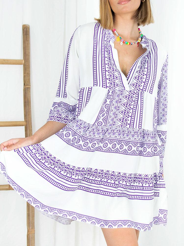 Φόρεμα boho με γεωμετρικά σχέδια σκούρο μωβ